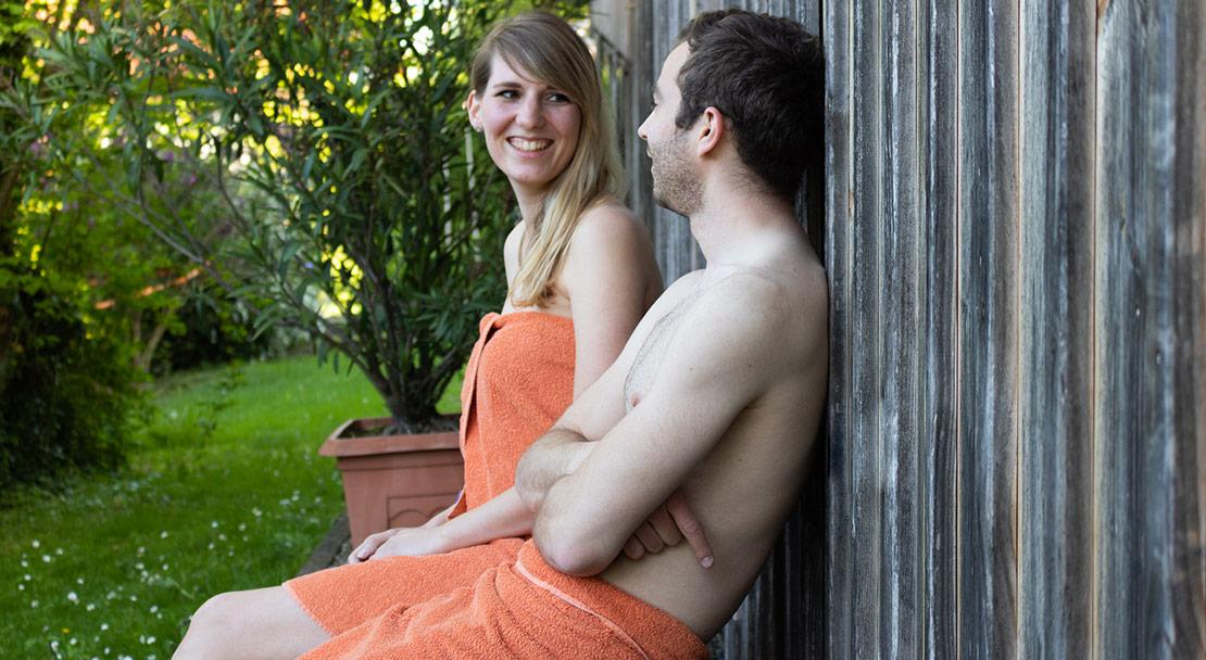 Abkühlung nach einem Saunagang